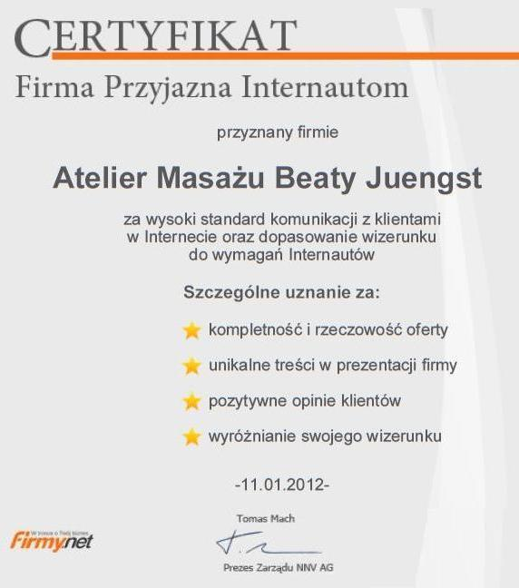 Massage Atelier of Beata Juengst in the center of Bydgoszcz - Internet Users Friendly Company